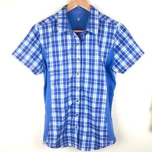 KUHL Plaid Short Sleeve Button Down Camp Shirt M